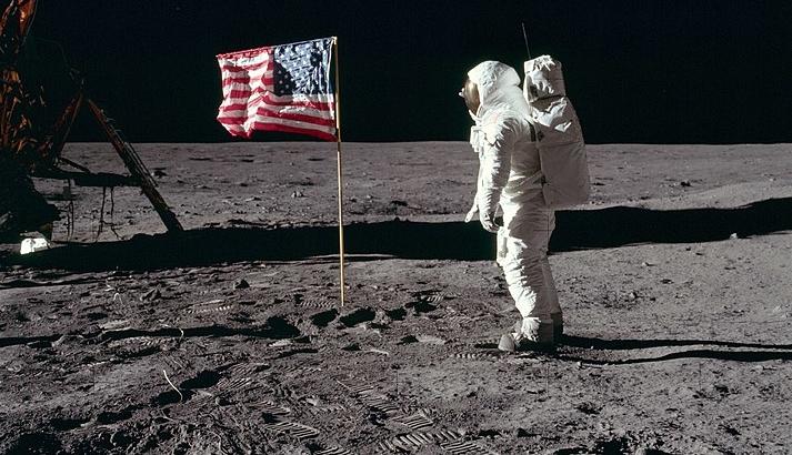 Buzz Aldrin Salutes U.S. Flag on Moon July 20, 1969